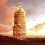 Вертикальный город в сердце песчаныхбарханов